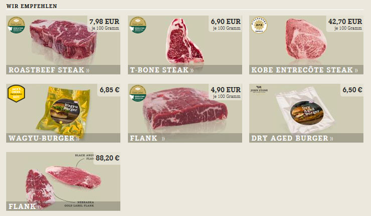 Fleisch, Geflügel und Steaks online kaufen